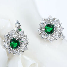 Women Fashion 925 Sterling Silver Round Emerald Hoop Stud Huggie Earrings Gift