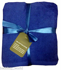 5 PC TOWEL BALE PLAIN BLUE MID / ROYAL LUXURIOUS 100% EGYPTIAN COTTON 400 GSM