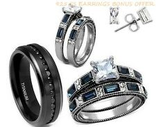 HIS CZ TITANIUM AND HER BLUE/CLEAR STAINLESS STEEL CZ EARRINGS WEDDING RING SET