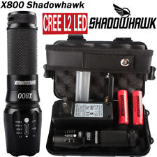 20000lm X800 Shadowhawk XM-L L2 LED Military Tactical Flashlight 2PC Battery Set