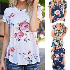 Women's Floral Ptint T-shirts Blouse Summer Casual Crew Neck Tee Shirt Tops AU