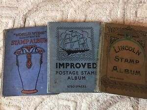 3 Old Stamp Albums W Stamps