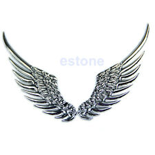 3D Alloy Metal Silvery Angel Wings Car Emblem Badge Logo Sticker Salable Silver