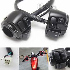 1 Paio Nero Manubrio Interruttore di controllo con cablaggio di Wire per Harley-Davidson Nuovo