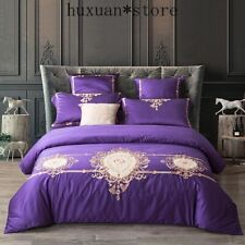 60SEgyptian Cotton Embroidered Luxury Royal Bedding Set 4/6Pcs King Queen Size
