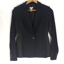 Cache Blazer Size 0 Black Single Button Satin Lace Embellished Suit Jacket Coat
