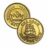 2 - 1 Gram .9999 Fine Gold Rounds in a Capsule - Sailing Ship Design- BU-Monarch