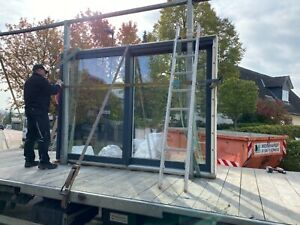 Tür, Balkontür, Holz-/Aluminium Hebe-Schiebetür,  300 cm Breite - 216 cm Höhe