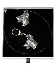 Doberman pincher - necklace, keyring, set with a dog in white box, Art Dog USA