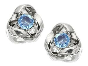 F.Hinds Jewellery 9ct White Gold Blue Topaz Knot Earrings - 7mm