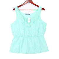 Maurices Women's Mint Green Lace Layered Lined Tank Top Blouse NWT - Size Large