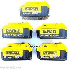 5 New Genuine Dewalt 20V DCB204 4.0 AH Lit-ion Batteries For Drill, Saw, 20 Volt