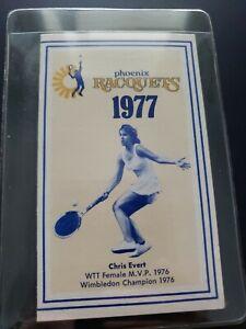 1977 Phoenix Racquets WTT World Team TENNIS Pocket Schedule Chris Evert  EX/MINT
