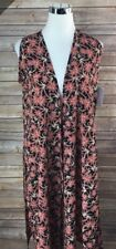 Lularoe Small Black Red Floral Silky Material Joy Vest NWT