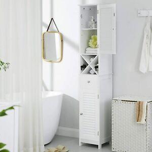 Badezimmerschrank Hochschrank, Badschrank mit 2 Lamellentüren mit Schublade Weiß