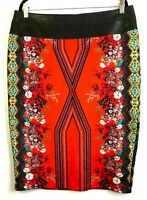 Bisou Bisou Michele Bohbo Pencil Skirt 16  Art Hi-Lo Hem Faux Leather Waistband