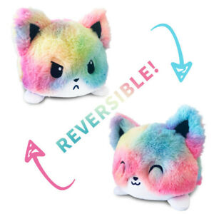 Cute Double-Sided Flip Reversible Unicorn Cat Plush Toys Lover Animals Doll UK