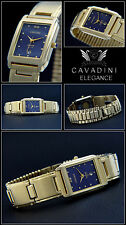 ORIGINAL NOBLE LADIES CAVADINI WATCH HARD GOLD PLATED ELEGANT & AZURE BLUE NEW
