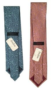 NEW $250 Charvet Pure Silk Tie! Light Blue or Lavender & Pink  Medallion Pattern