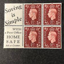 Great Britain, Scott # 237c (Bklt Panel 4+2Labels) Sg # 464b 1937-39 Kgvi Mvlh