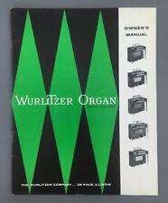 Wurlitzer Organ Models 4040 - 4050 Owners Manual 1960s DeKalb Il Usa Warranty