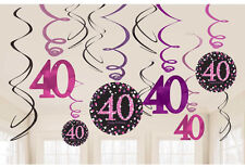 12 x 40th Birthday Hanging Swirls Black & Pinks Party Decorations Age 40 FREE PP