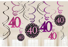 12 x 40th Anniversaire pendant tourbillons noir & Rose Décoration de fête