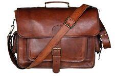 """New Vintage Goat Leather Men's 16"""" Laptop Case Briefcase Shoulder Messenger Bag"""