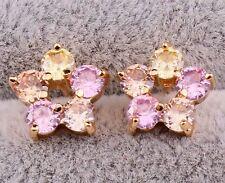 18K Gold Filled -Champagne Pink Topaz Golden topaz Flower Cocktail Lady Earrings