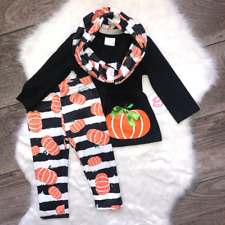 Girl Boutique Pumpkin Striped Black White Outfit Children's Clothing