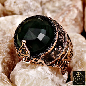 Men's Green Stone Emerald Ring Islamic Military Conquest Historical Cool Jewelry