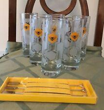Set of 6 Jack Daniels Tennessee Honey Whiskey Bee Highball Glasses & 3 Stirrers