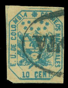 "COLOMBIA 1863 Coat of Arms 10c blue  Scott 25 used VF ""Bogota"" part cxl"