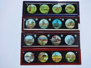 4 Glass Magic Lantern slides strips slide strip coloured