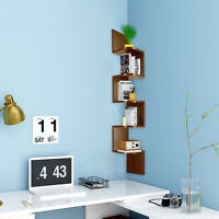 US 5 Tier Floating Wall Shelves Corner Shelf Storage Display Woode Bookcase