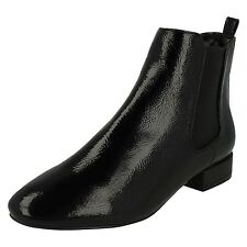 Ladies Spot on Ankle BOOTS The Style- F50558 UK 5 Black Crinkle Patent Regular