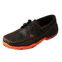 TWISTED X YOUTH BLACK/NEON ORANGE DRIVING MOC YDM0024 TWISTED X SHOES