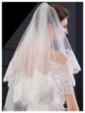 Wedding Bridal White Cathedral Veil 2 Tier Soft Tulle Sequin Lace Edge With Comb