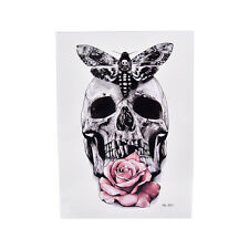 Skull With Moth And Flower Cool Tattoo Waterproof Temporary Body Tattoo StickerH