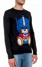 "MOSCHINO⚡️Transformers ""Optimus Prime"" teddy bear intarsia knit jumper sweater L"