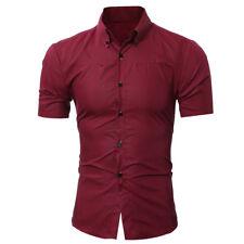 Casual Mens Shirt Formal Work Stand Collar Business Slim Dress Shirts Top Blouse
