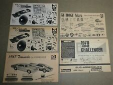 MPC 1965 to 1970 Vintage Annual Kit Instruction Sheets. Corvette, Dodge, Olds