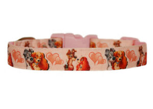 """pink   Lady & the Tramp inspired medium large dog puppy collar 1"""" cushioned"""