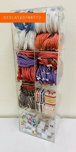 200 Units Cell Phone Accessories Display Rack Charger Cable Wholesale Lot 6FT.