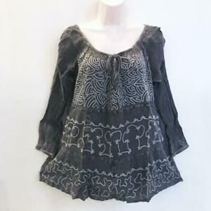 Sacred Threads Hippie Boho Embroidered Tier Babydoll Peasant Top 219709 LXL