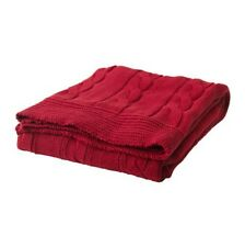 IKEA Ursula Chunky Cable Knit Cotton Throw Blanket Red - 120x180cm