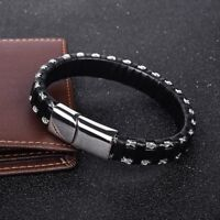 Mens Black Leather Bracelet FREE Engraving Personalised Gifts For Him FREEPOST