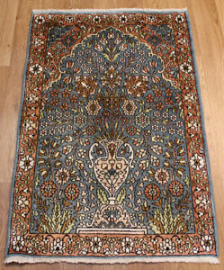 Old Handmade Kashmir Silk Rug 90 x 60 cm