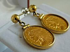 22K Gold 2 1/2 US Dollar Liberty Indian Head Coin 14k Dangle Earrings 10.7g