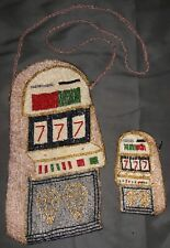 Vintage Casino Slot Machine 777 Beaded Shoulder Bag Purse & Matching Coin Purse!
